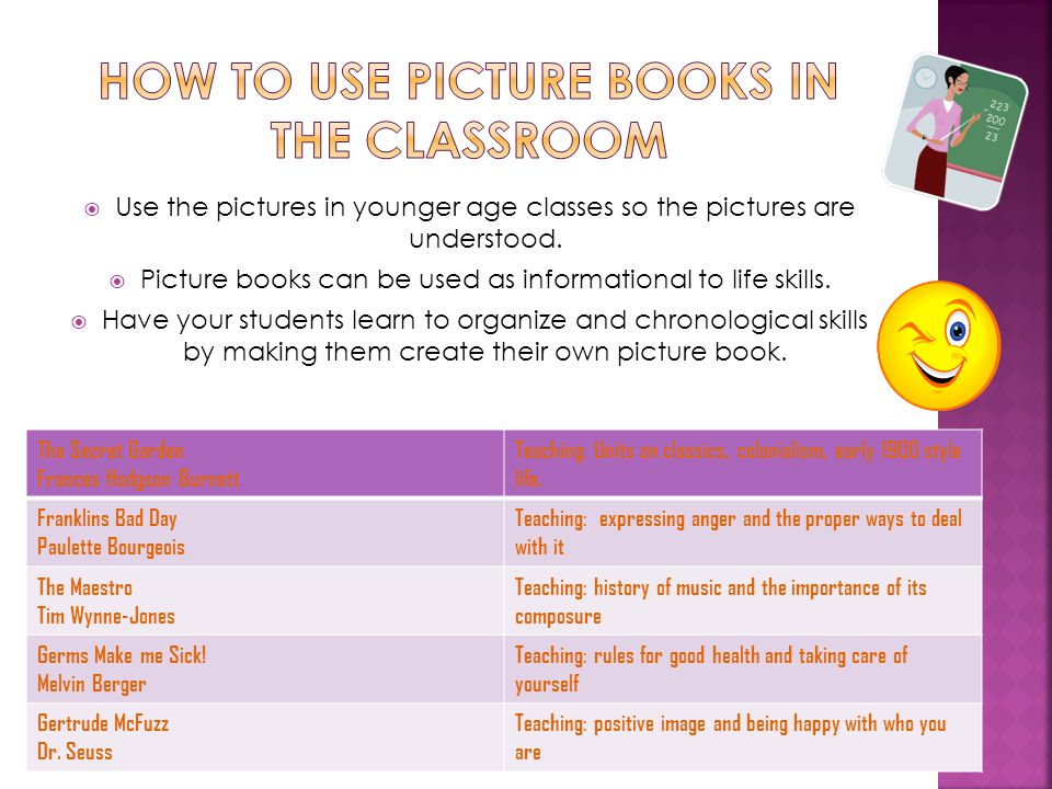  Use the pictures in younger age classes so the pictures are understood.