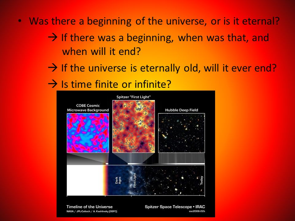 Was there a beginning of the universe, or is it eternal?  If there was a beginning, when was that, and when will it end?  If the universe is eternal