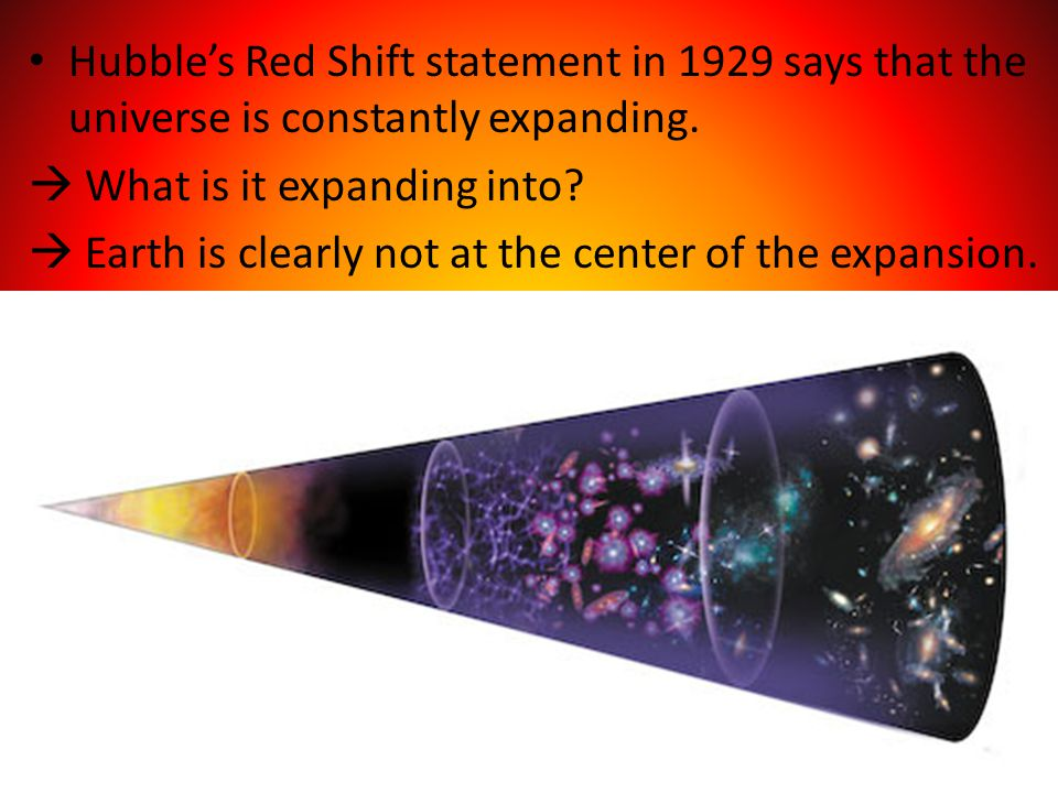 Hubble's Red Shift statement in 1929 says that the universe is constantly expanding.