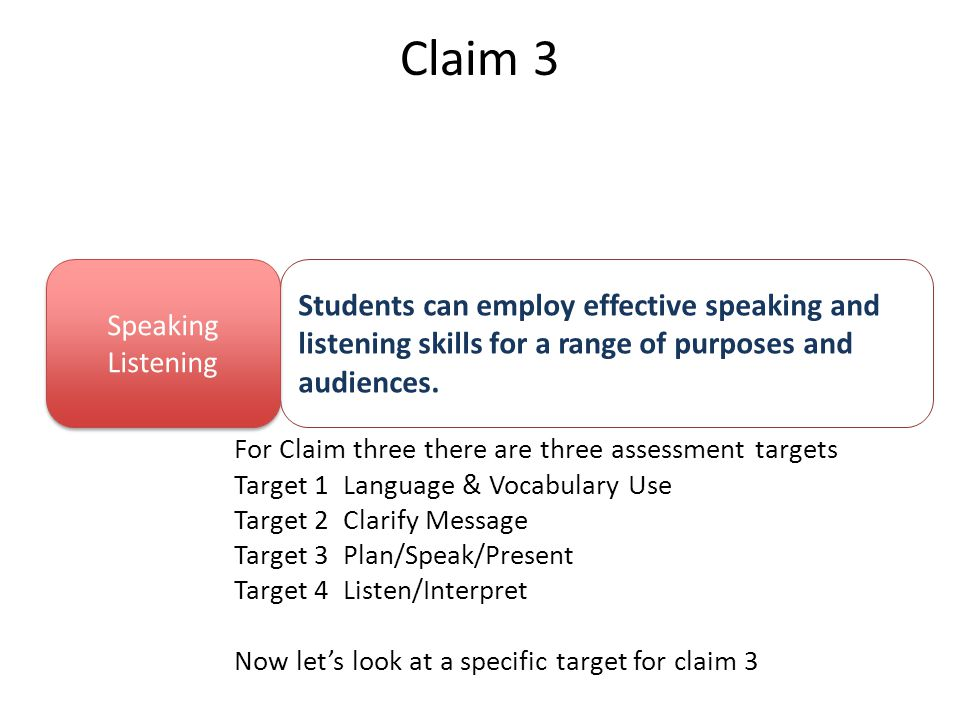 Claim 3 For Claim three there are three assessment targets Target 1 Language & Vocabulary Use Target 2 Clarify Message Target 3 Plan/Speak/Present Target 4 Listen/Interpret Now let's look at a specific target for claim 3 Students can employ effective speaking and listening skills for a range of purposes and audiences.