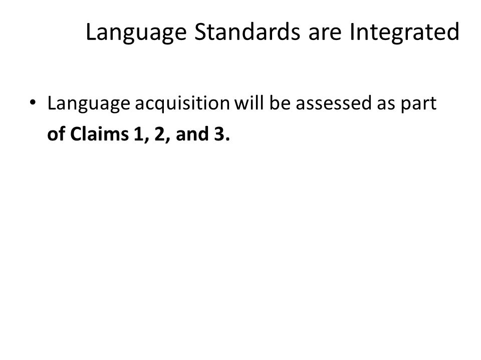 Language Standards are Integrated Language acquisition will be assessed as part of Claims 1, 2, and 3.