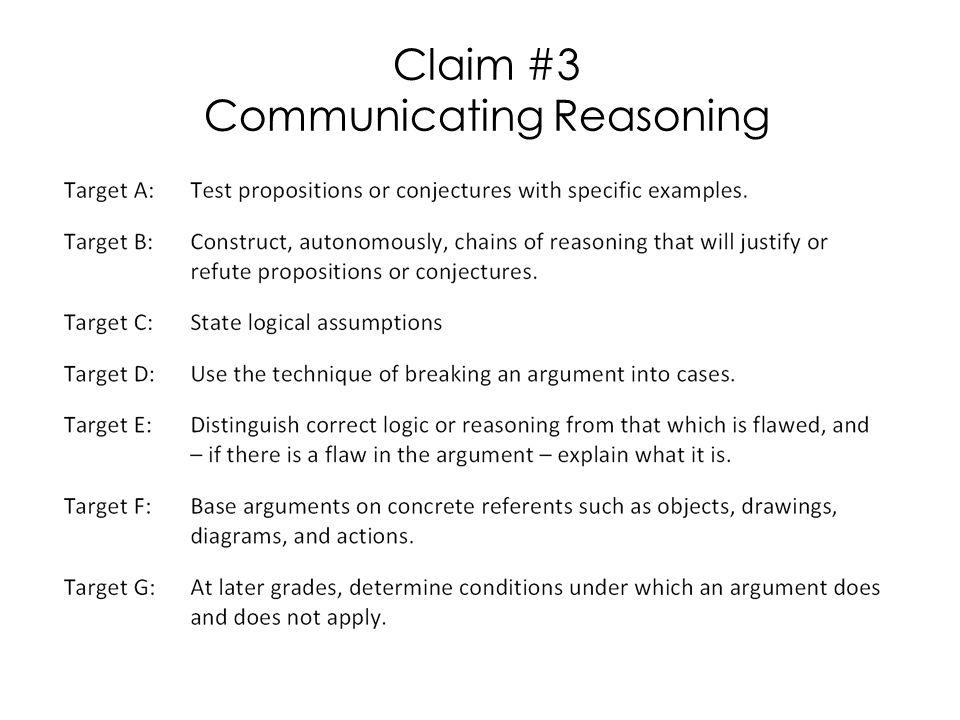 Claim #3 Communicating Reasoning