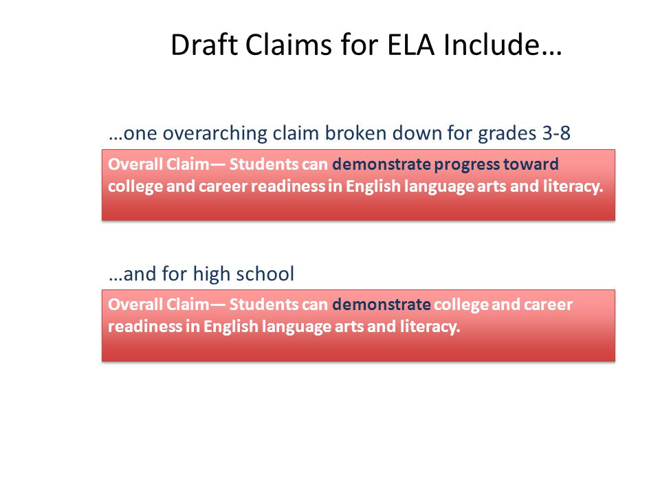 Draft Claims for ELA Include… …one overarching claim broken down for grades 3-8 …and for high school Overall Claim— Students can demonstrate college and career readiness in English language arts and literacy.