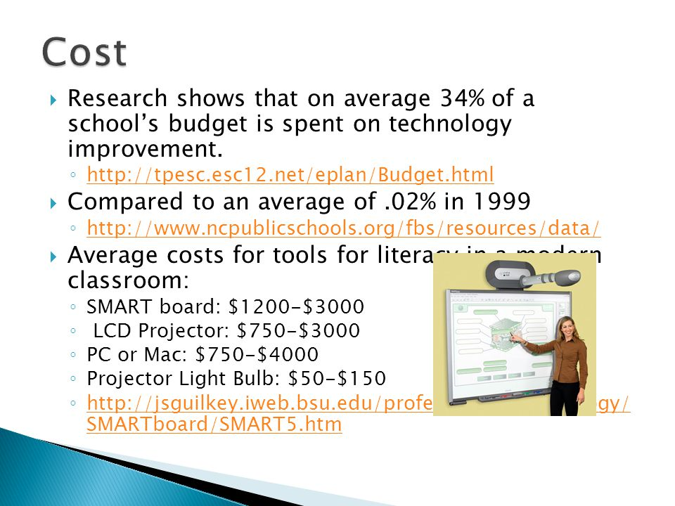  Research shows that on average 34% of a school's budget is spent on technology improvement.