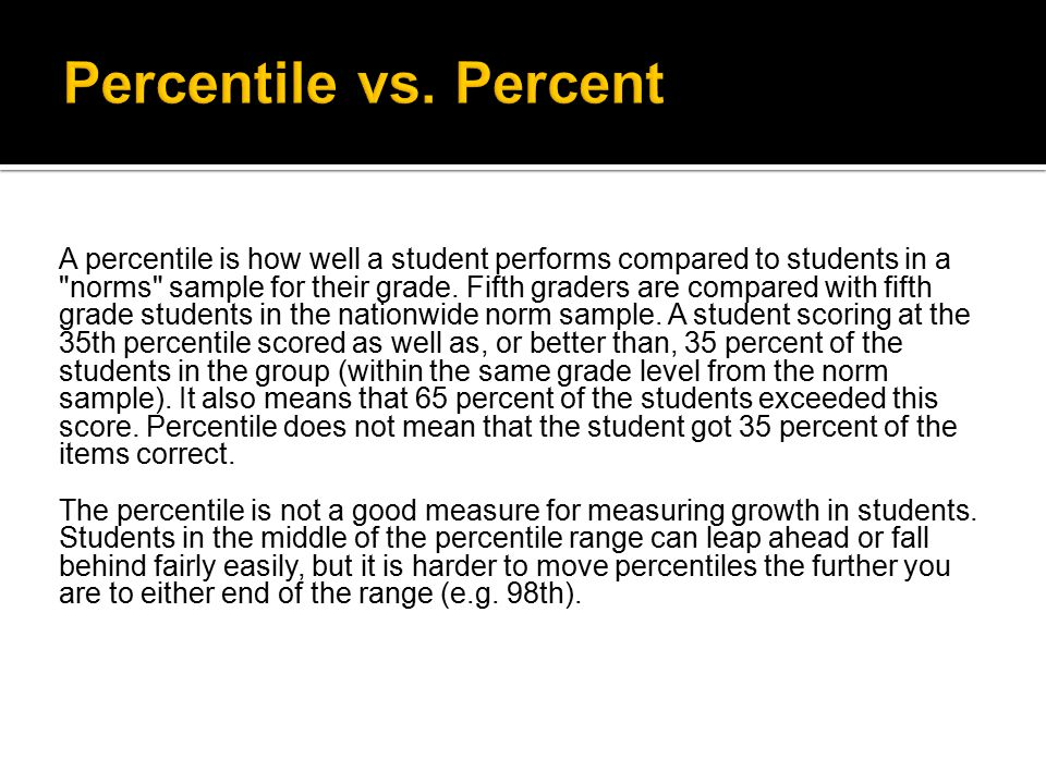 A percentile is how well a student performs compared to students in a norms sample for their grade.