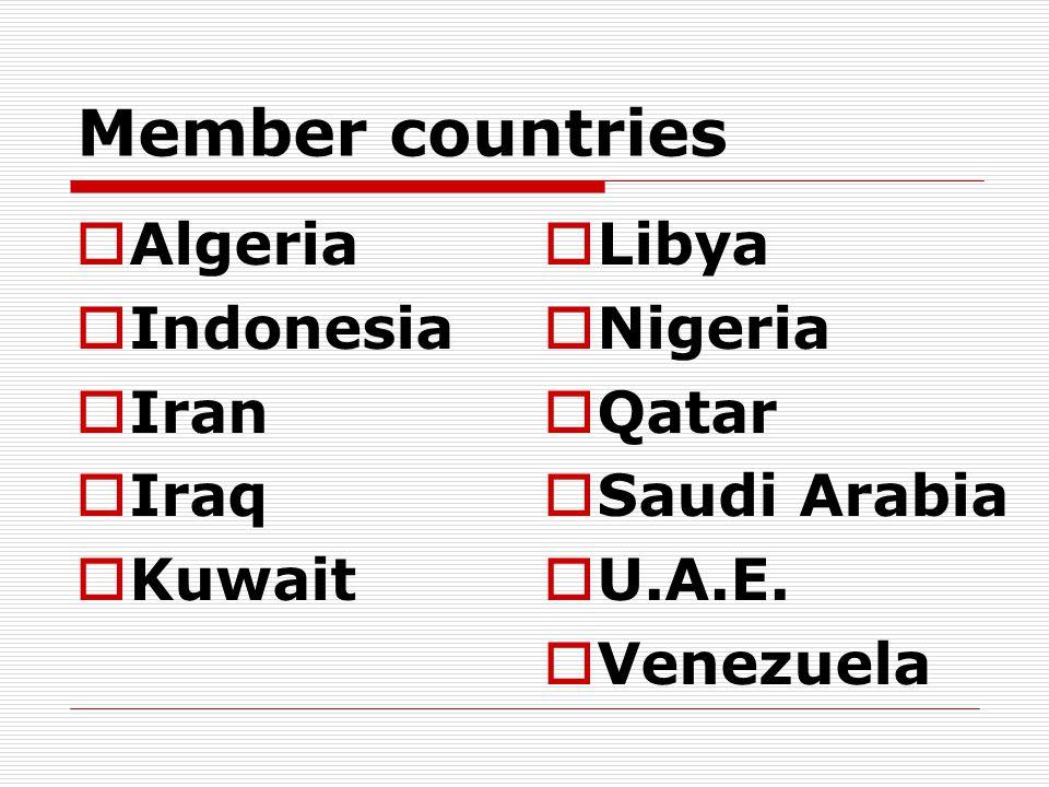 Member countries  Algeria  Indonesia  Iran  Iraq  Kuwait  Libya  Nigeria  Qatar  Saudi Arabia  U.A.E.