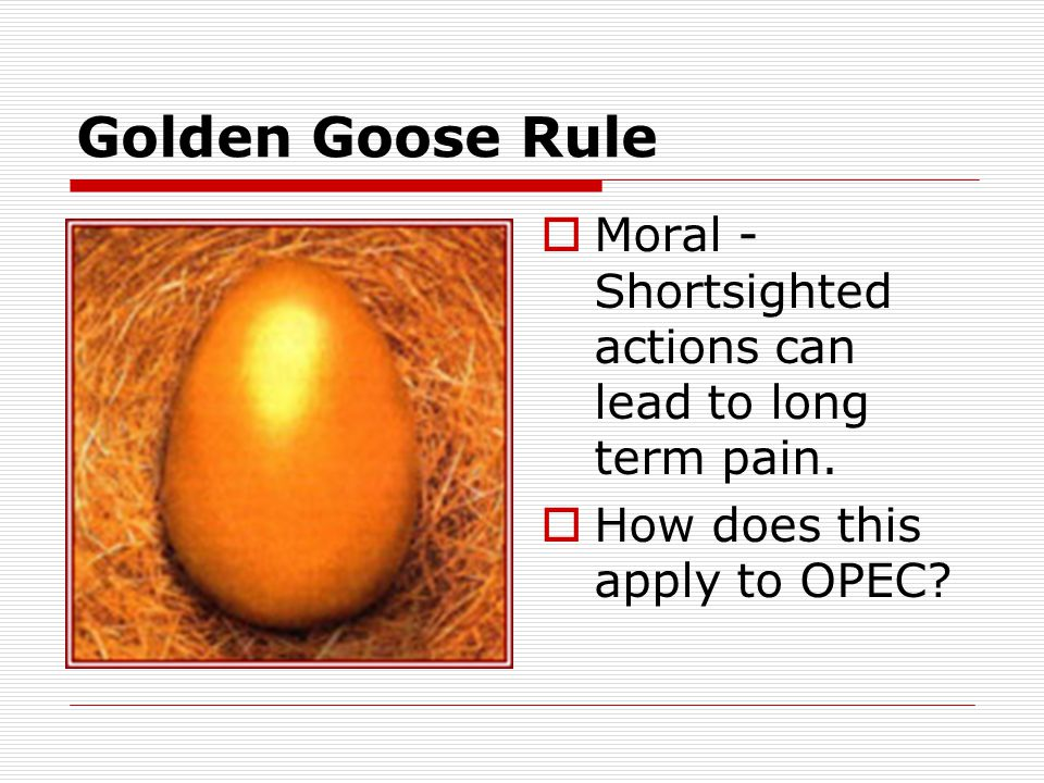 Golden Goose Rule  Moral - Shortsighted actions can lead to long term pain.