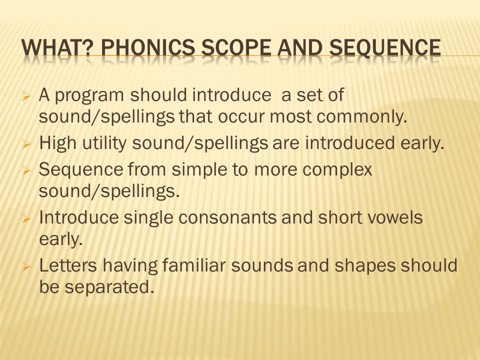  A program should introduce a set of sound/spellings that occur most commonly.  High utility sound/spellings are introduced early.  Sequence from s