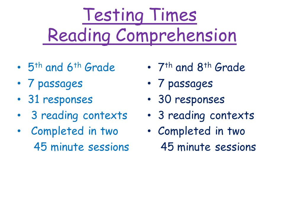 Testing Times Reading Comprehension 5 th and 6 th Grade 7 passages 31 responses 3 reading contexts Completed in two 45 minute sessions 7 th and 8 th Grade 7 passages 30 responses 3 reading contexts Completed in two 45 minute sessions