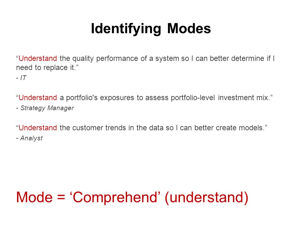 """Identifying Modes """"Understand the quality performance of a system so I can better determine if I need to replace it."""" - IT """"Understand a portfolio's e"""