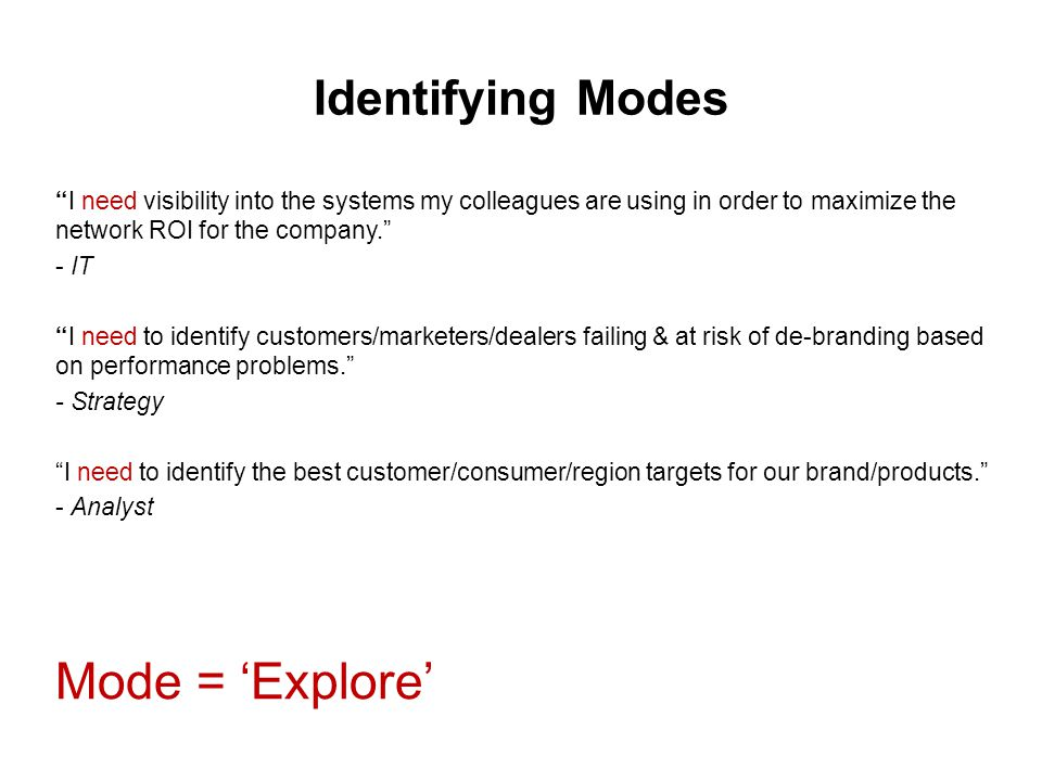Identifying Modes I need visibility into the systems my colleagues are using in order to maximize the network ROI for the company. - IT I need to identify customers/marketers/dealers failing & at risk of de-branding based on performance problems. - Strategy I need to identify the best customer/consumer/region targets for our brand/products. - Analyst Mode = 'Explore'