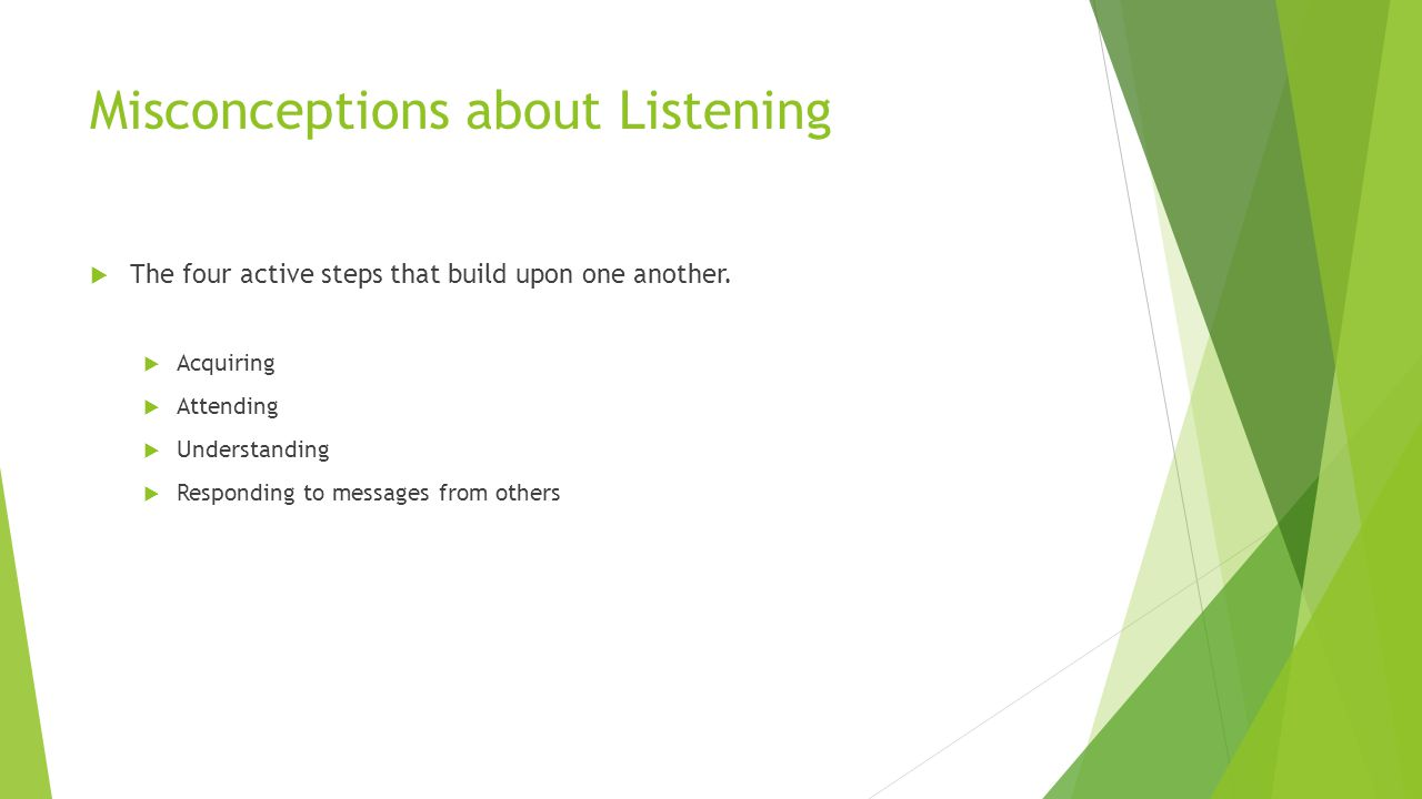 Misconceptions about Listening  The four active steps that build upon one another.  Acquiring  Attending  Understanding  Responding to messages f
