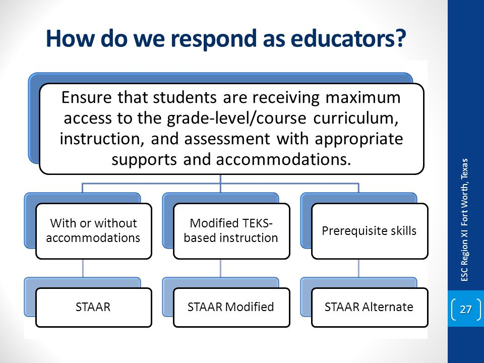 How do we respond as educators? ESC Region XI Fort Worth, Texas 27 Ensure that students are receiving maximum access to the grade-level/course curricu