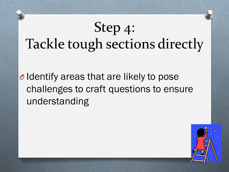 Step 4: Tackle tough sections directly O Identify areas that are likely to pose challenges to craft questions to ensure understanding