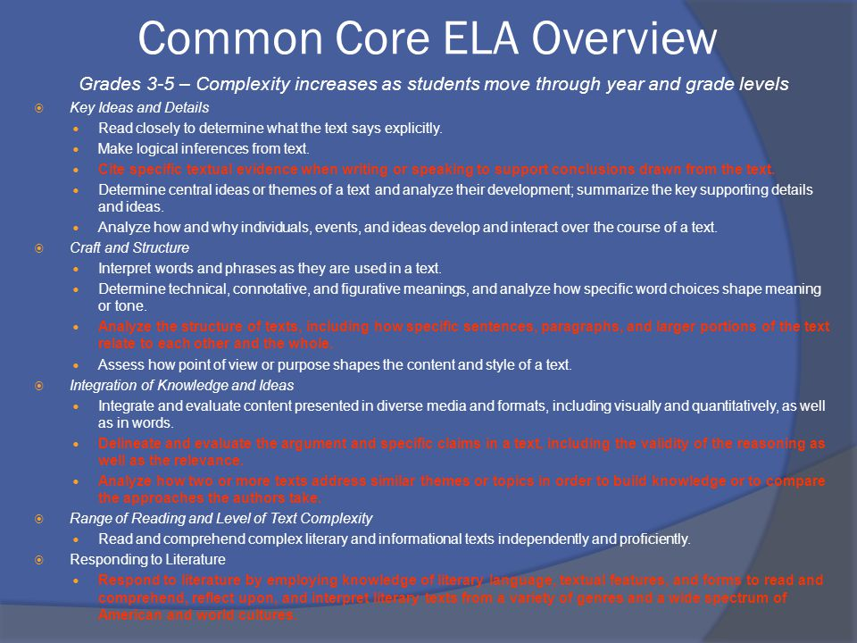 Common Core ELA Overview Grades 3-5 – Complexity increases as students move through year and grade levels  Key Ideas and Details Read closely to determine what the text says explicitly.