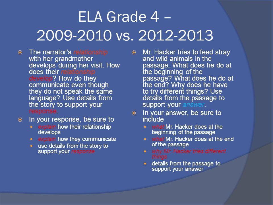 ELA Grade 4 – 2009-2010 vs.
