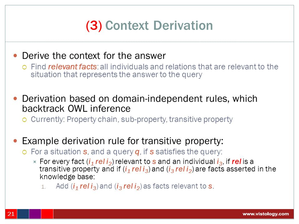 (3) Context Derivation 21 Derive the context for the answer  Find relevant facts: all individuals and relations that are relevant to the situation th