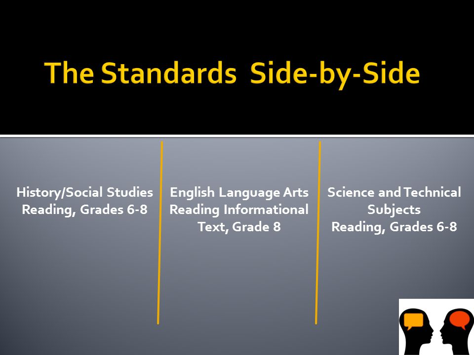 History/Social Studies Reading, Grades 6-8 English Language Arts Reading Informational Text, Grade 8 Science and Technical Subjects Reading, Grades 6-8