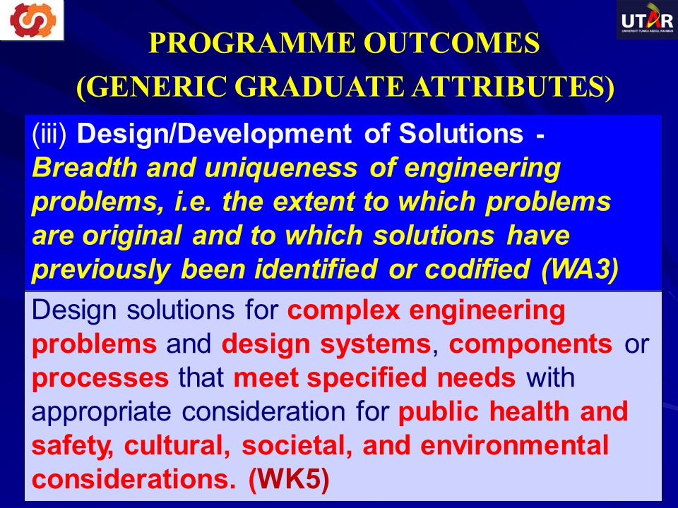 (iii) Design/Development of Solutions - Breadth and uniqueness of engineering problems, i.e. the extent to which problems are original and to which so