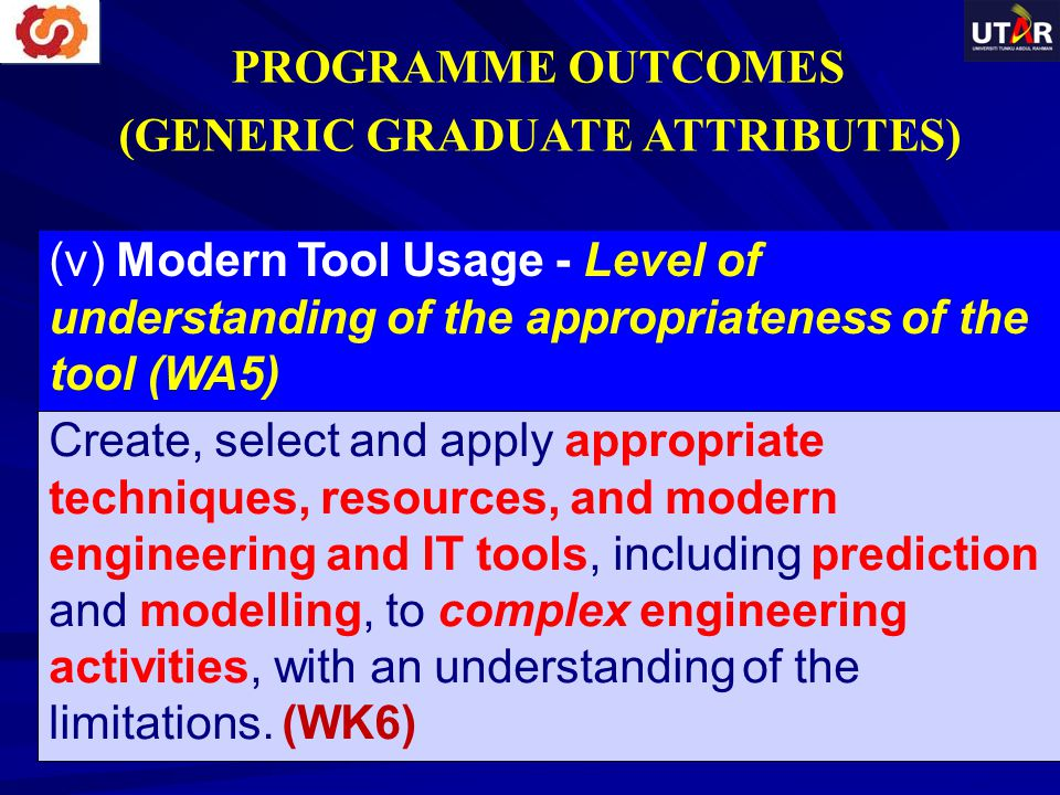 (v) Modern Tool Usage - Level of understanding of the appropriateness of the tool (WA5) Create, select and apply appropriate techniques, resources, an