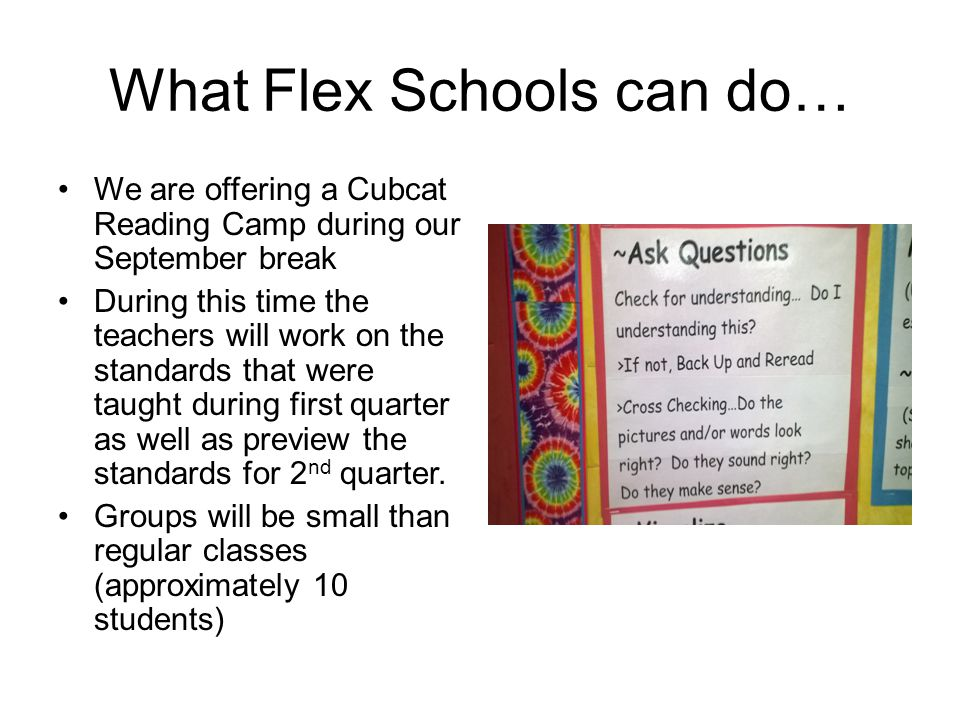 What Flex Schools can do… We are offering a Cubcat Reading Camp during our September break During this time the teachers will work on the standards that were taught during first quarter as well as preview the standards for 2 nd quarter.