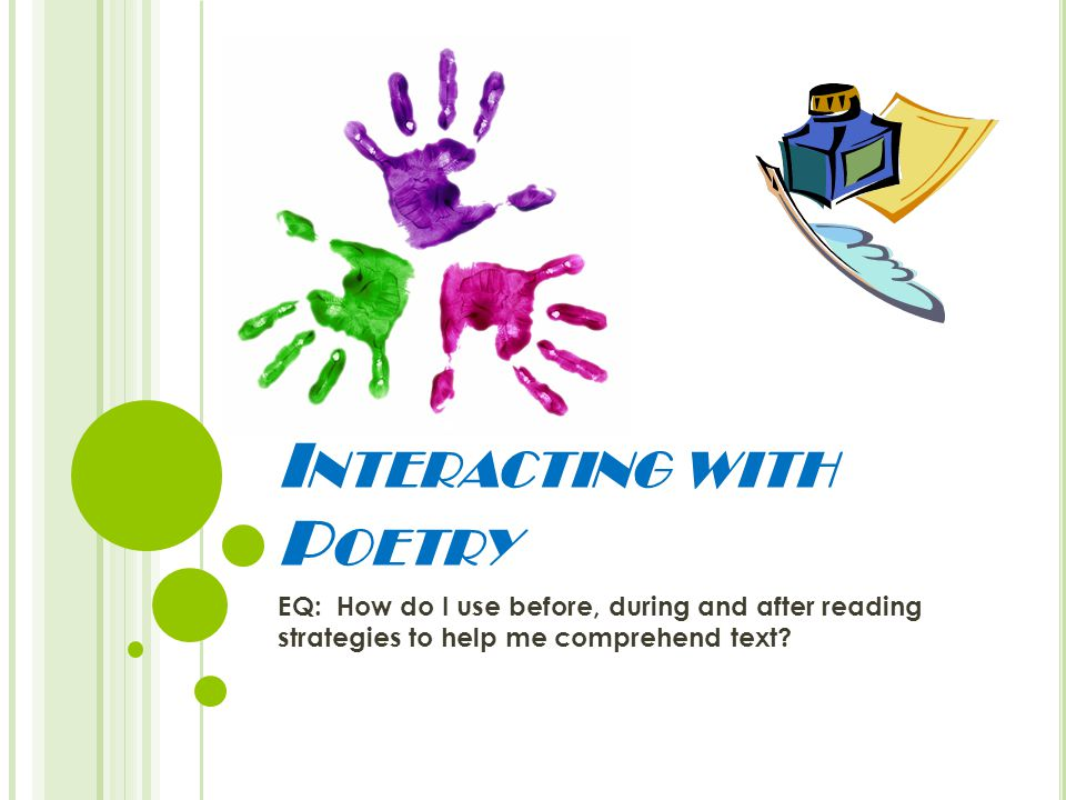 I NTERACTING WITH P OETRY EQ: How do I use before, during and after reading strategies to help me comprehend text?