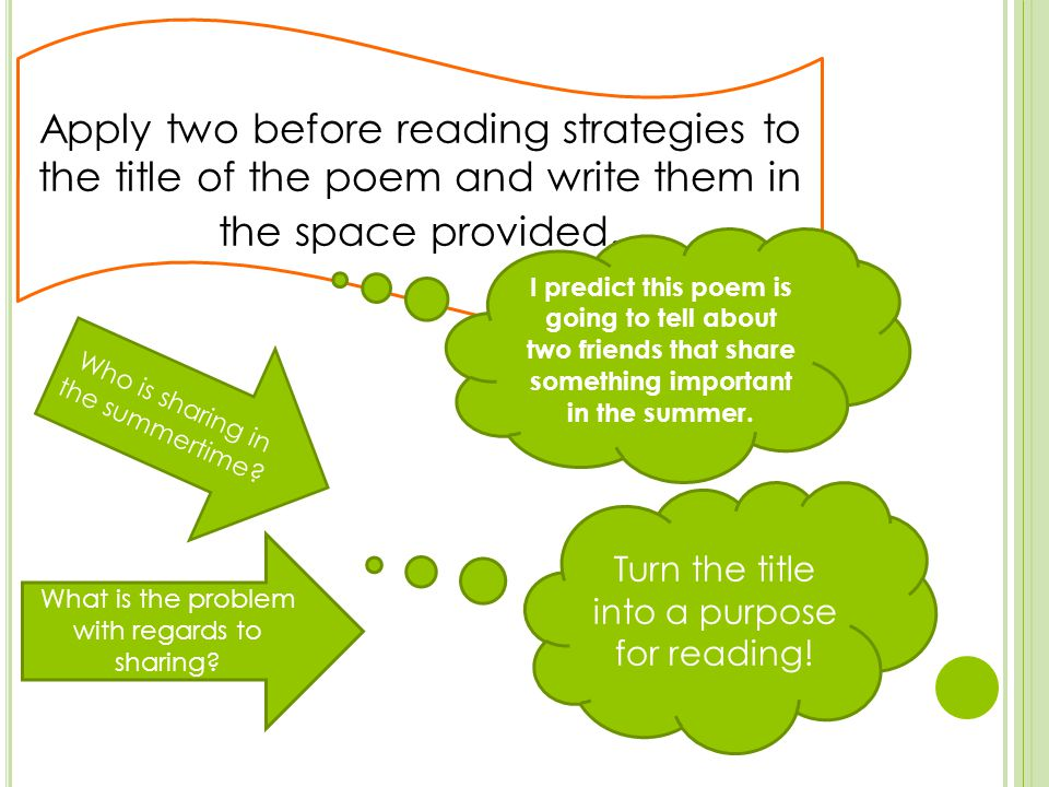 Apply two before reading strategies to the title of the poem and write them in the space provided.