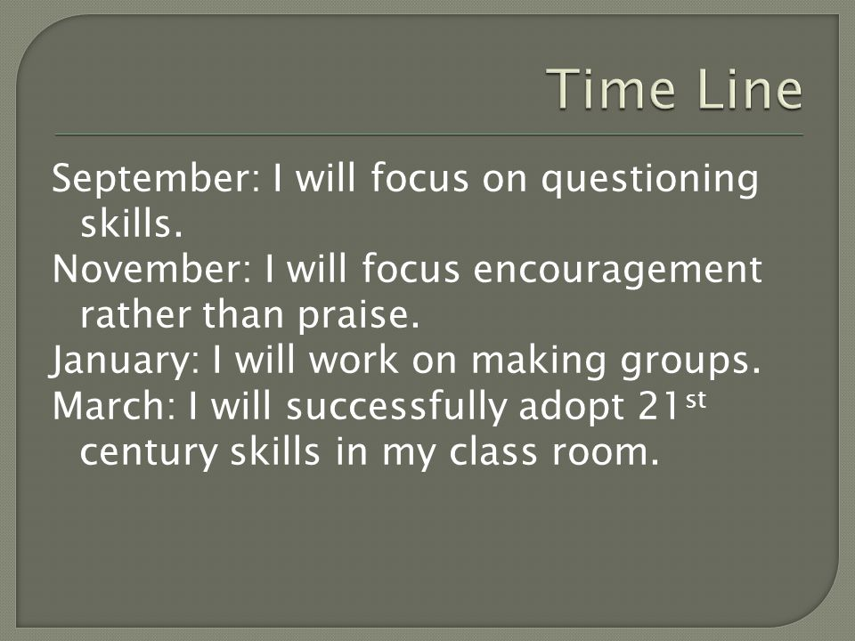 September: I will focus on questioning skills. November: I will focus encouragement rather than praise. January: I will work on making groups. March: