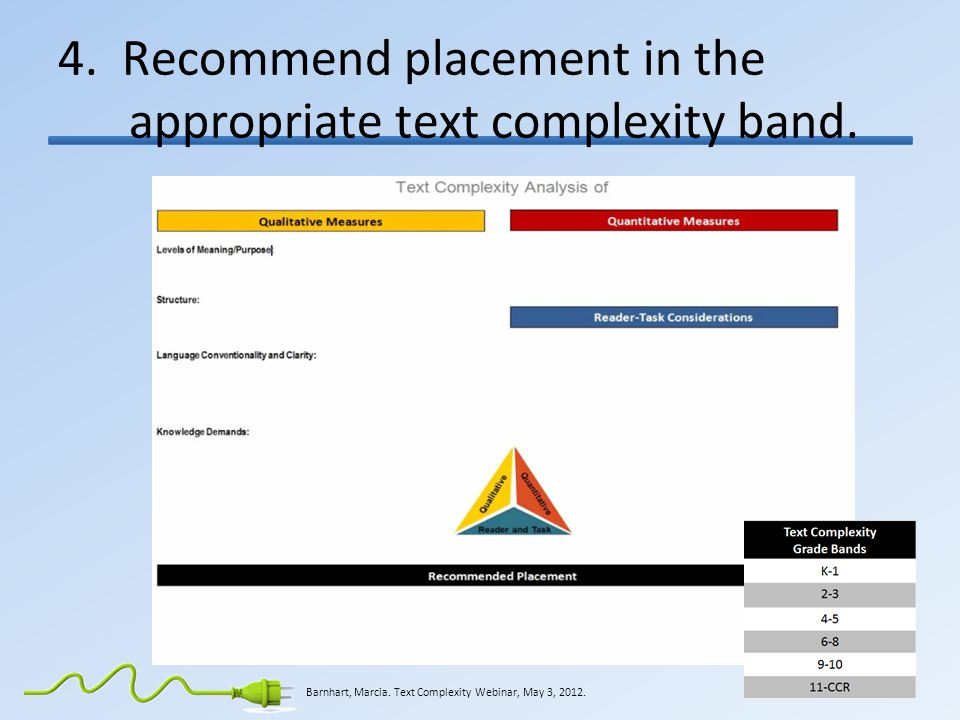 4. Recommend placement in the appropriate text complexity band.