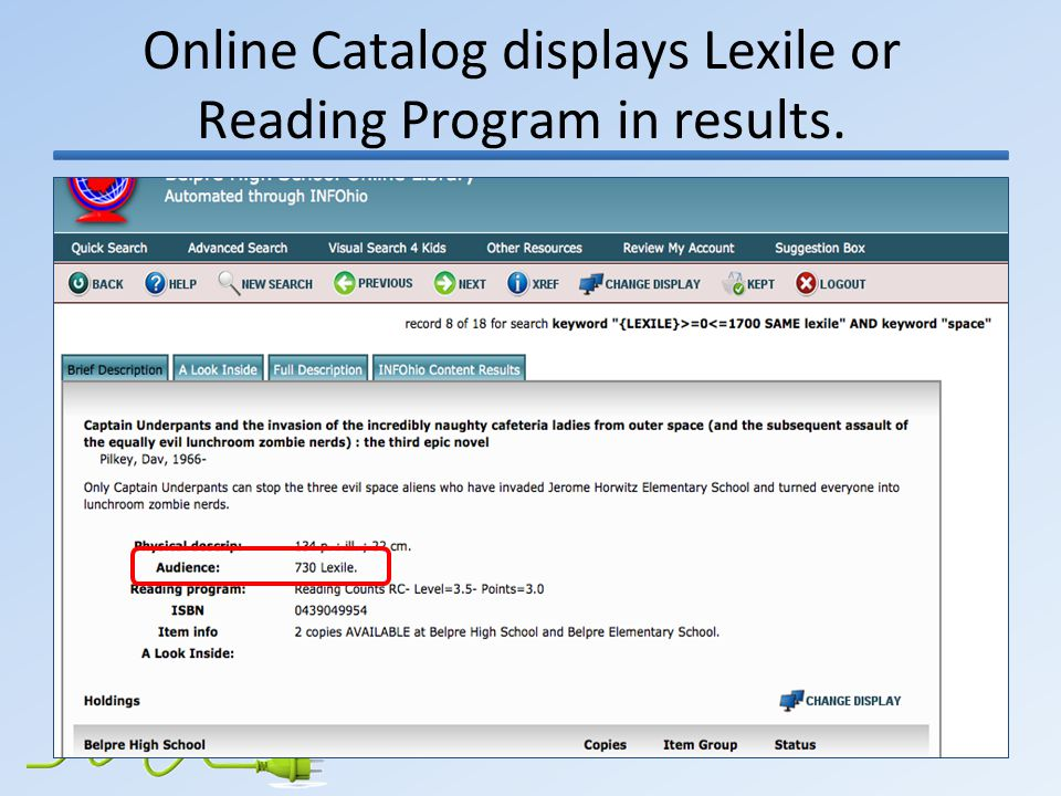 Online Catalog displays Lexile or Reading Program in results.