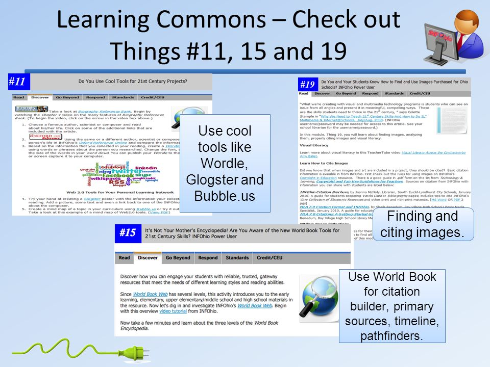 Learning Commons – Check out Things #11, 15 and 19 Finding and citing images.
