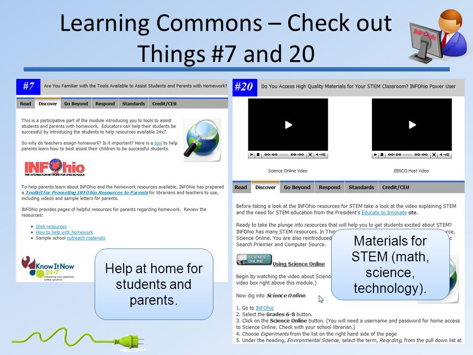 Learning Commons – Check out Things #7 and 20 Materials for STEM (math, science, technology).