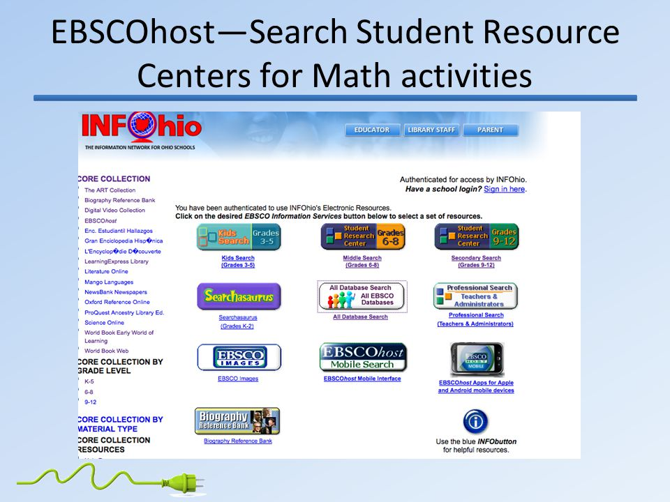 EBSCOhost—Search Student Resource Centers for Math activities