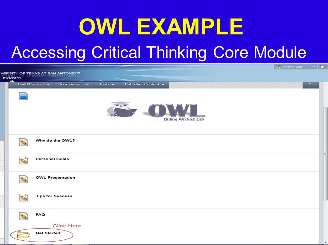 OWL EXAMPLE Accessing Critical Thinking Core Module
