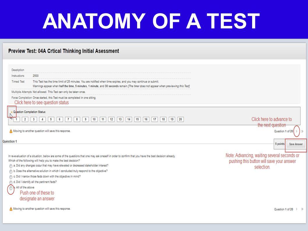 ANATOMY OF A TEST