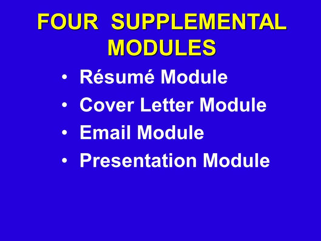 FOUR SUPPLEMENTAL MODULES Résumé Module Cover Letter Module Email Module Presentation Module