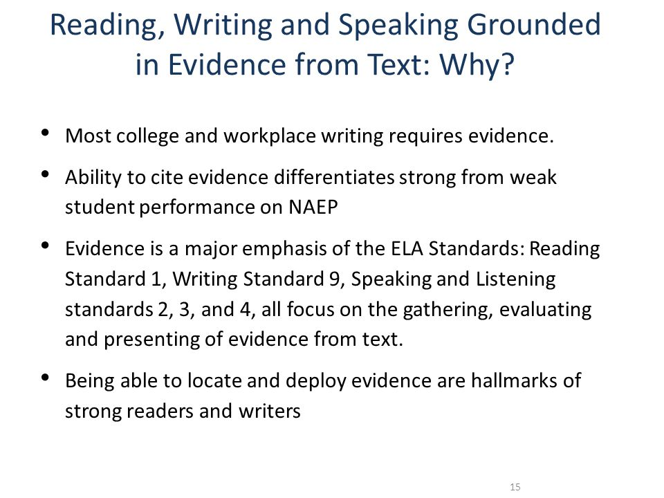 Reading, Writing and Speaking Grounded in Evidence from Text: Why.