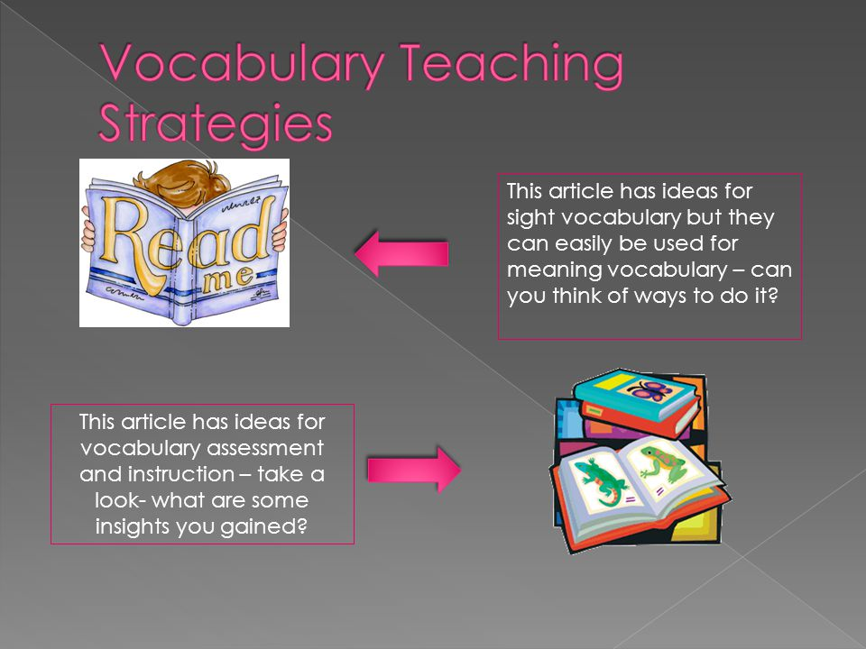 This article has ideas for sight vocabulary but they can easily be used for meaning vocabulary – can you think of ways to do it? This article has idea