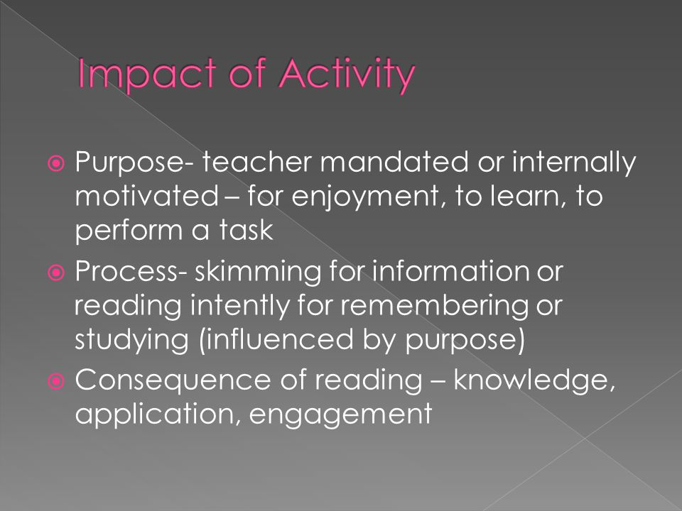  Purpose- teacher mandated or internally motivated – for enjoyment, to learn, to perform a task  Process- skimming for information or reading intently for remembering or studying (influenced by purpose)  Consequence of reading – knowledge, application, engagement