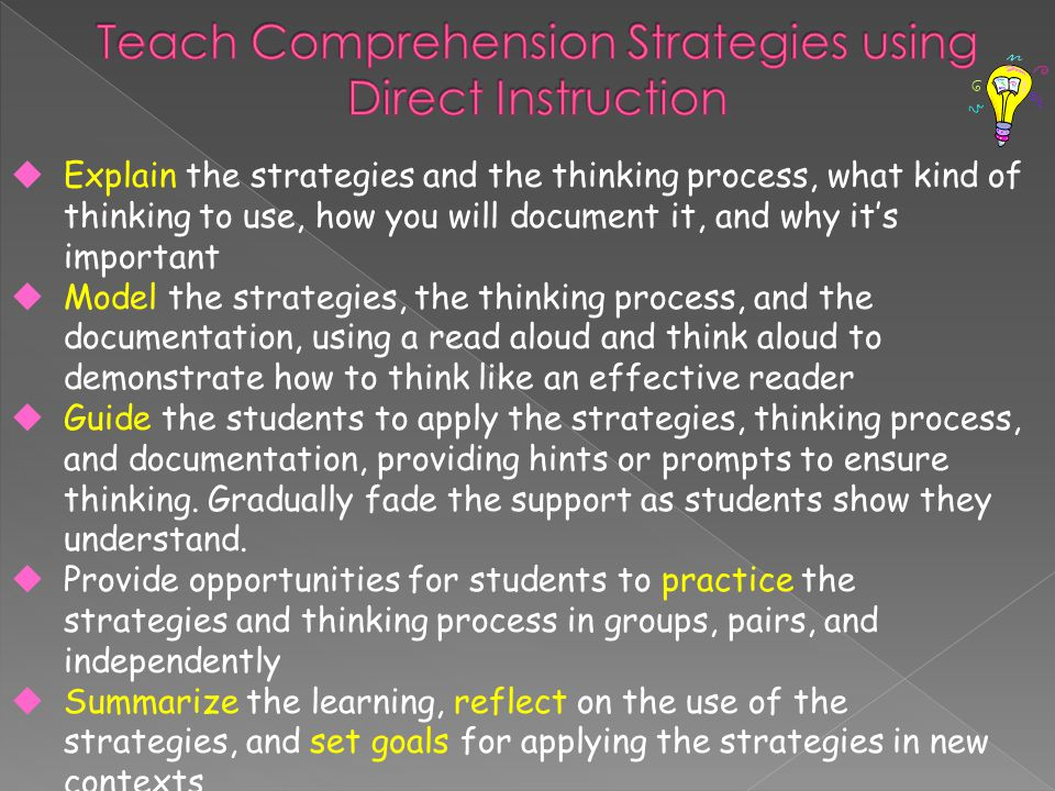 uExplain the strategies and the thinking process, what kind of thinking to use, how you will document it, and why it's important uModel the strategies, the thinking process, and the documentation, using a read aloud and think aloud to demonstrate how to think like an effective reader uGuide the students to apply the strategies, thinking process, and documentation, providing hints or prompts to ensure thinking.