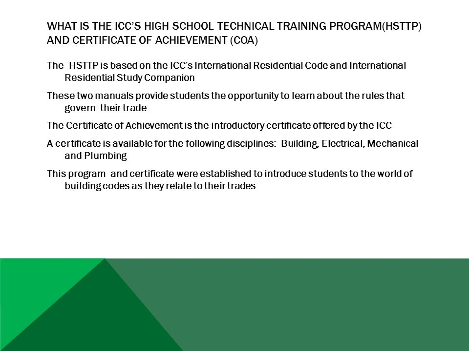 HARFORD TECH RECEIVES FIRST ICC CERTIFICATIONS 79 STUDENTS AT HARFORD TECH HAVE RECEIVED ICC CERTIFICATES OF ACHIEVEMENT