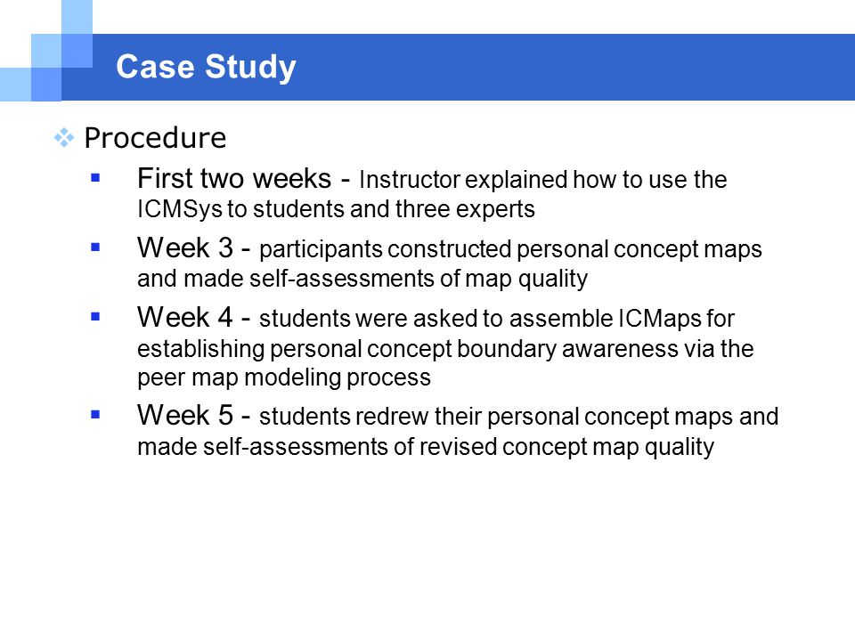 Case Study  Procedure  First two weeks - Instructor explained how to use the ICMSys to students and three experts  Week 3 - participants constructed personal concept maps and made self-assessments of map quality  Week 4 - students were asked to assemble ICMaps for establishing personal concept boundary awareness via the peer map modeling process  Week 5 - students redrew their personal concept maps and made self-assessments of revised concept map quality