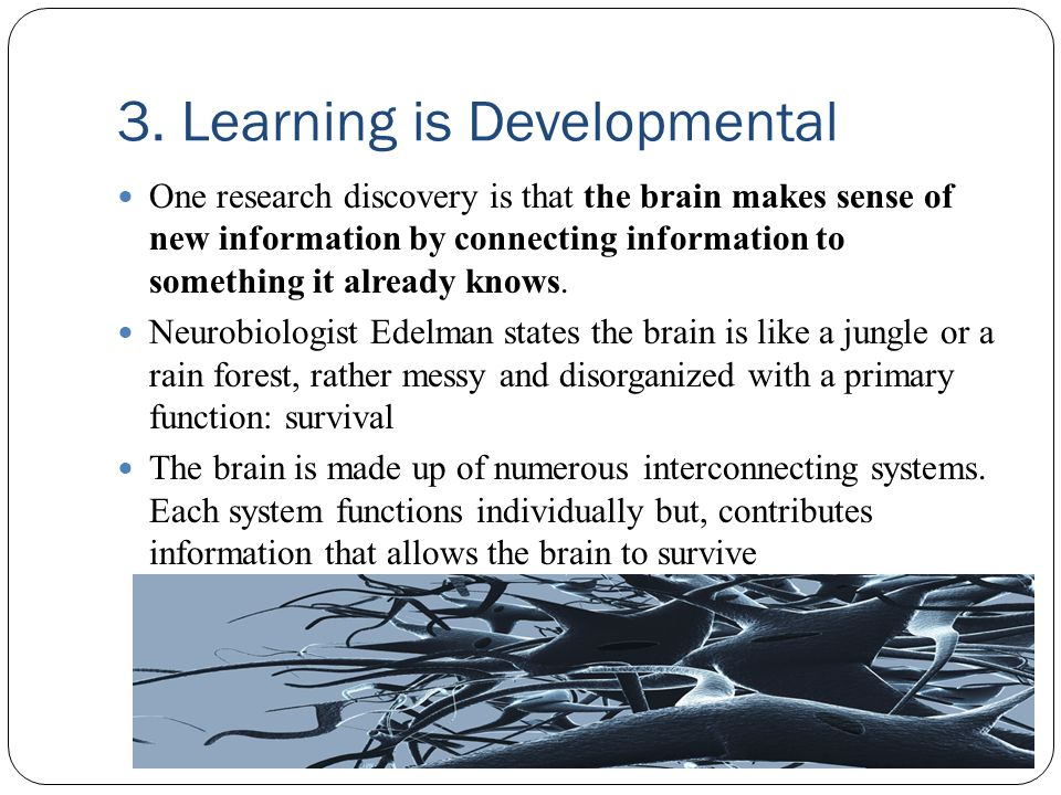 3. Learning is Developmental One research discovery is that the brain makes sense of new information by connecting information to something it already