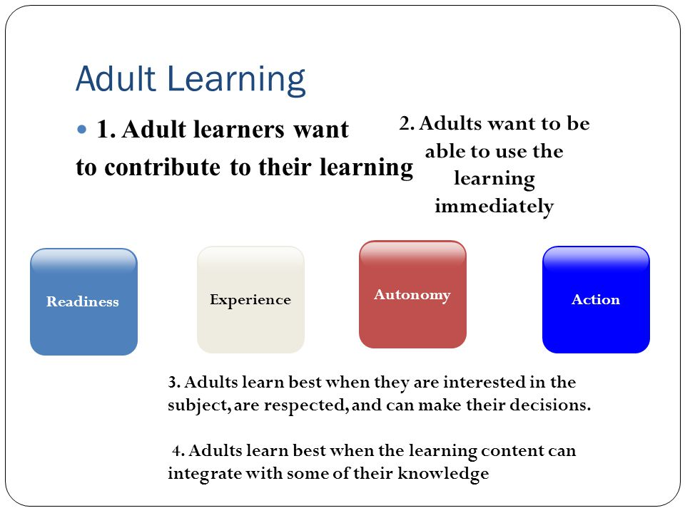 Adult Learning 1. Adult learners want to contribute to their learning Readiness 2.