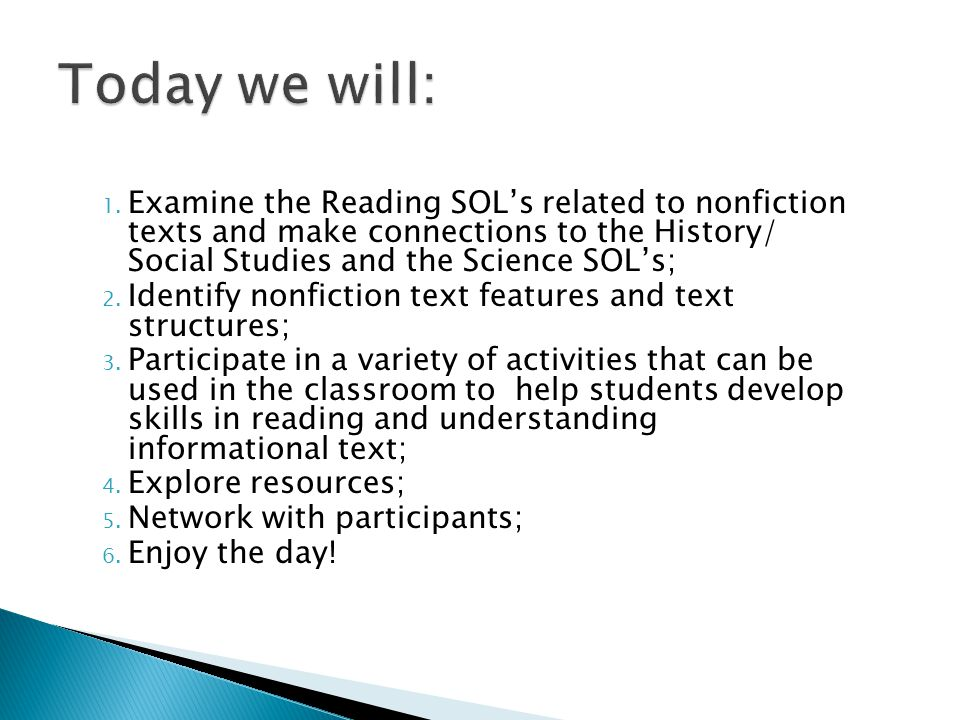  You will be given 30 seconds to record the types of nonfiction text you have read today.