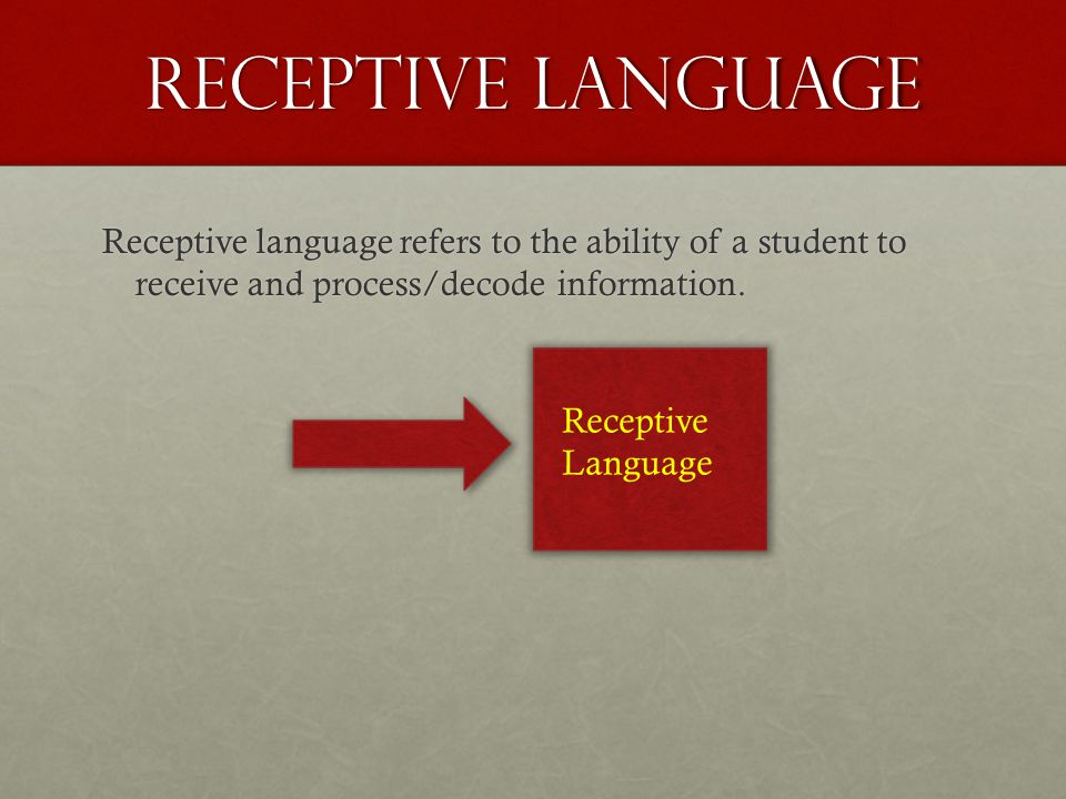 Receptive Language Receptive language refers to the ability of a student to receive and process/decode information. Receptive Language