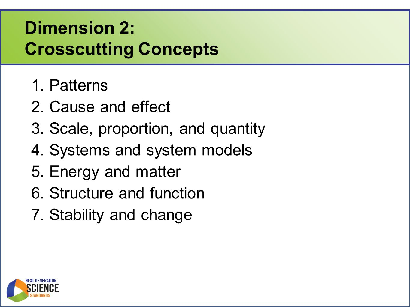 Dimension 2: Crosscutting Concepts 1. Patterns 2.