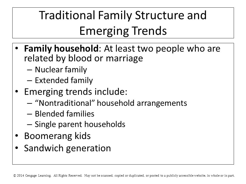 Traditional Family Structure and Emerging Trends Family household: At least two people who are related by blood or marriage – Nuclear family – Extende