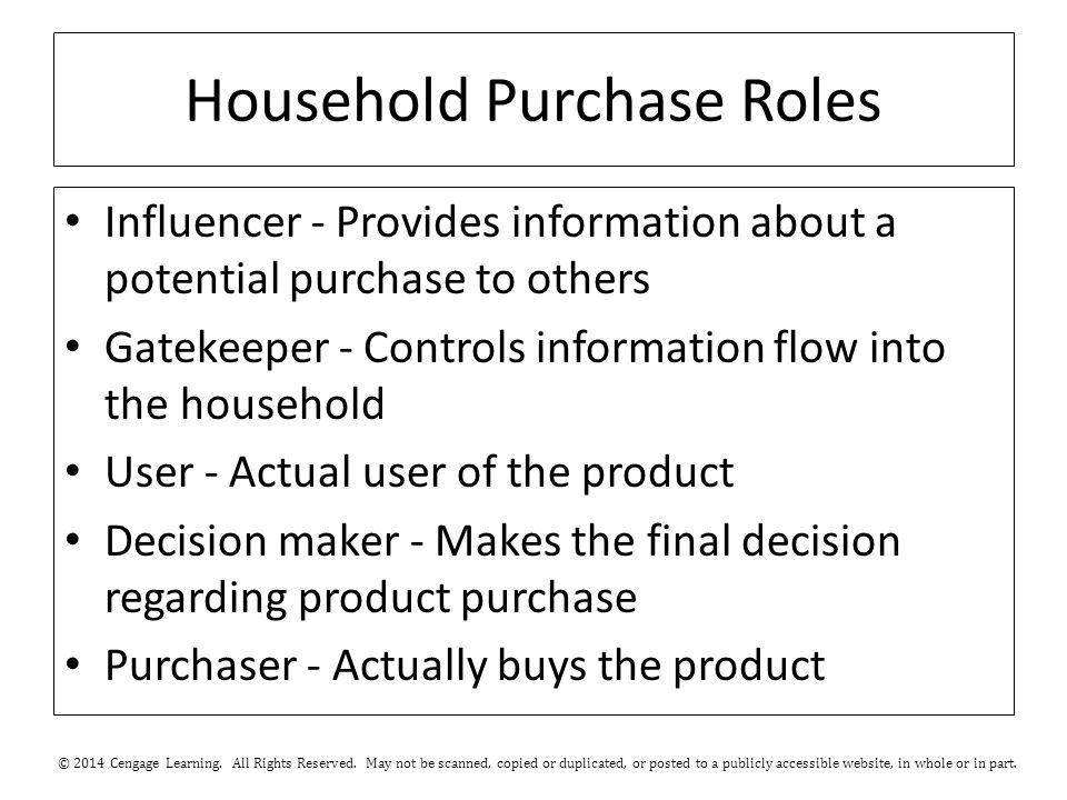 Household Purchase Roles Influencer - Provides information about a potential purchase to ­others Gatekeeper - Controls information flow into the household User - Actual user of the product Decision maker - Makes the final decision regarding product purchase Purchaser - Actually buys the ­product