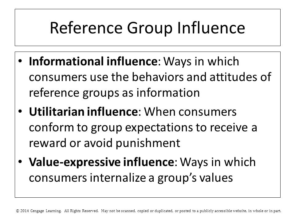 Reference Group Influence Informational influence: Ways in which consumers use the behaviors and attitudes of reference groups as information Utilitarian influence: When consumers conform to group expectations to receive a reward or avoid punishment Value-expressive influence: Ways in which consumers internalize a group's values